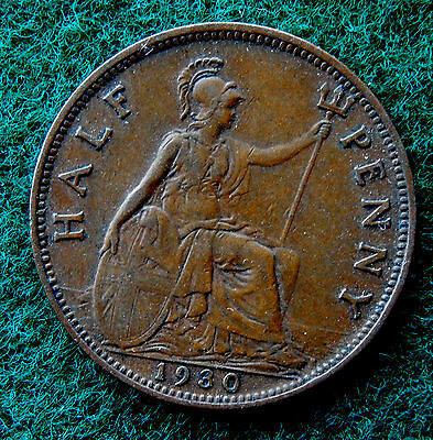 1930 UK Great Britain Half Penny Coin SB3778
