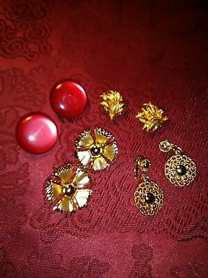 VINTAGE Clip On Earrings Lot of 4 Pair
