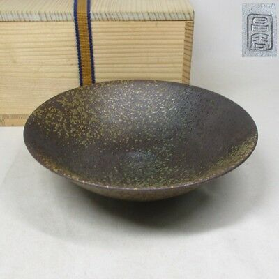 B680: Japanese BIZEN pottery flat tea bowl of good natural glaze and taste w/box