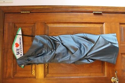 Xscape Ruched Silver One Shoulder Cocktail Dress Size 6