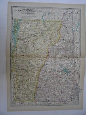 ANTIQUE MAP OF VERMONT and NEW HAMPSHIRE  From the Century Atlas of the World