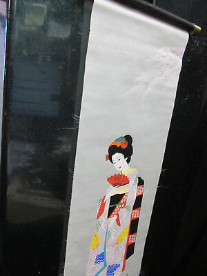 vintage antique Japanese hand painted scroll of Geisha 1940s
