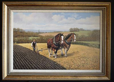 19Th Century Style Large Fine Art Realism Oil Painting Horse Ploughing Landscape