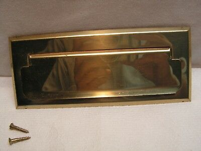 Vintage Solid Brass Mail Slot with mounting Screws.
