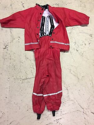polarn o pyret 1-2 years rain pants and jacket color red