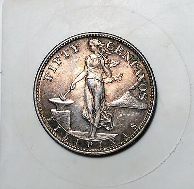 1944 S Philippines 50 Centavos Silver Coin - Uncirculated - Silver - 50 Centacos