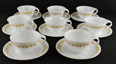 Corning Corelle Gold Butterfly Eight Hook Handle Cups & Saucers