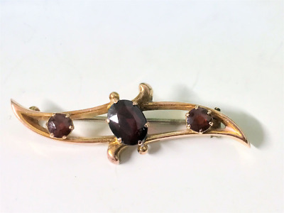 Beautiful Antique 9ct Yellow Gold & Red Stone Bar Brooch Circa 1920