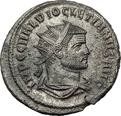 DIOCLETIAN 286AD Silvered  Authentic Ancient Roman Coin JUPITER ZEUS i65387