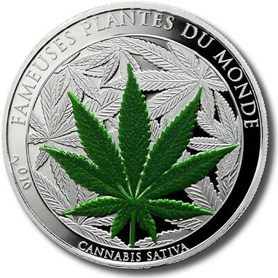 BENIN 100 FRANCS CANNABIS SATIVA CuNi Ag 2010 PROOF MARIJUANA COIN