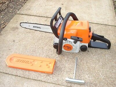 """Stihl 017 petrol chainsaw with 12"""" guide bar and chain."""
