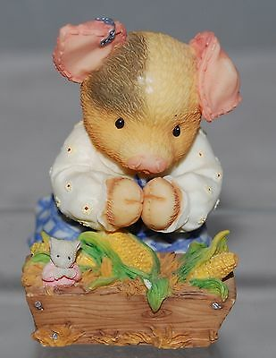 """This Little Piggy Figure, Praying Pig """"Bless This Mess"""" Enesco 1997, 3"""" With Box"""