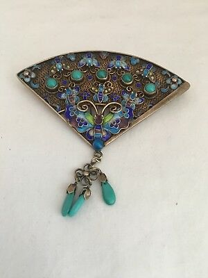 Beautiful Vintage Large  Chinese Turquoise Silver Enamel Fan Brooch Pin