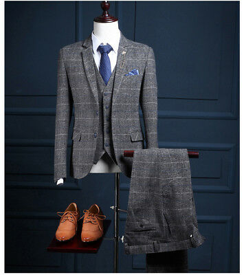 Men 3 Piece Classic Tweed Herringbone Check Tan Gray Strip Slim Fit Vintage Suit