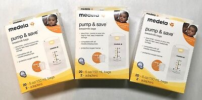 Medela Pump & Save Breastmilk Bags - 3 PACKS - 20 Count Each - SEALED BOXES