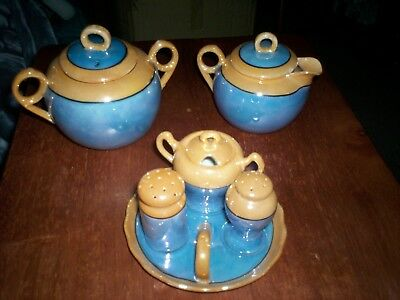 Vintage Lot Meito China Blue & Peach Lustre Made Japan Handpainted 9pc Condiment