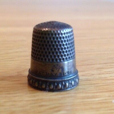 Antique Sterling Thimble - Size 7 - Simons Bros PRISCILLA Pat. May 31, '98