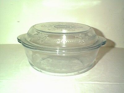 Pretty Vintage Fireking Philbe 2 Qt Casserole Dish With Domed Pie Plate Dish Lid