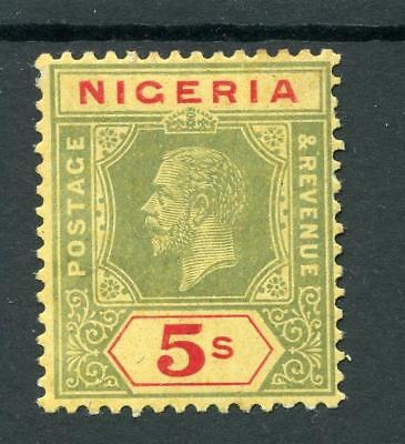 Nigeria 1914-29 5s green and red on pale yellow SG10e MM cat £130 - see desc