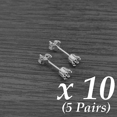 10x Genuine Sterling Silver 6-Claw Round Snap-Tite Snap-In Earring Setting 4mm