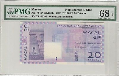Macau Banco Nacional Ultramarino 2005 20 Patacas, Replacement/ Star, PMG 68