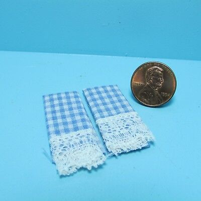 Dollhouse Miniature Country Blue Checkered Placemat Set ~ KI507B