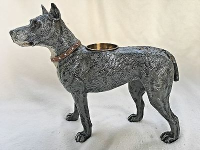 """Antique Great Dane Dog Pen Wipe Cold Painted Statue Large Metal Signed 10"""""""