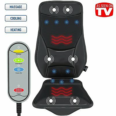Massage Seat Cushion Vibrating Chair Cool Heated Back Massager Therapy Car Home