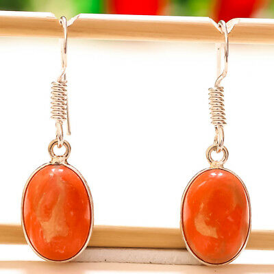 """Red Copper Turquoise Gemstone 925 Silver Earring 1.37"""""""