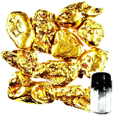 10 Piece Alaskan Natural Pure Gold Nuggets With Bottle Free Shipping (#b250)