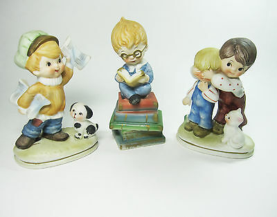 3 VINTAGE LEFTON FIGURINES Japan Boy Reading Books Newspaper Dog Cat Lot 6188
