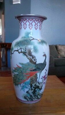 Fine Republic Chinese peacock Famille Rose enamelled vase calligraphy