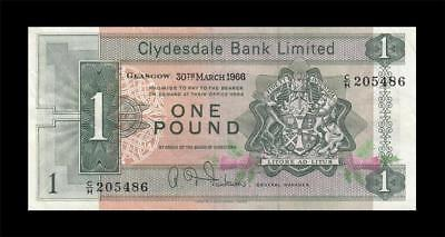 1966 Clydesdale Bank Scotland Glasgow 1 Pound (( Ef ))