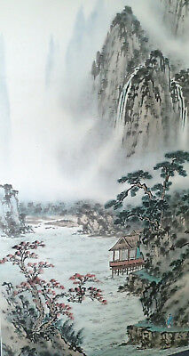 CHINESE HANGING SCROLL ART Colorful Painting Landscape Waterfall Asian antique