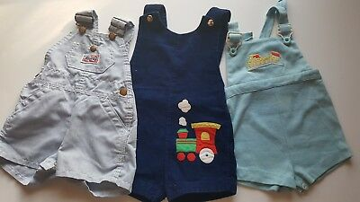 Vintage overalls lot unisex train liberty boy rompers 12-18 months