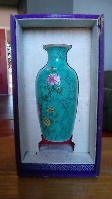 Fine Antique Chinese turquoise ground enamelled vase Qing 19th century