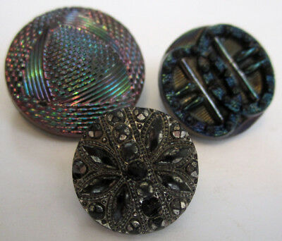 Antique & Vintage Buttons Lot of 3,Black Glass w/Luster,Buckle Motif,Sewing