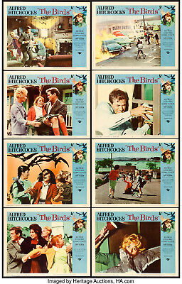 "Movie Posters The Birds 1963 Lobby Card Set of 8 11""x14"" VF 8 Tippi Hedren"