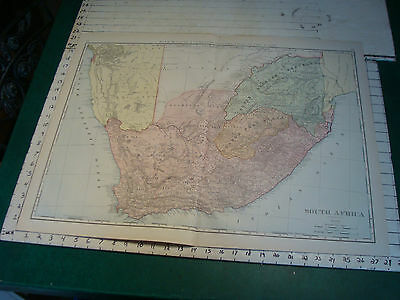 Vintage Original 1898 Rand McNally Map: SOUTH AFRICA, 28 x 21""