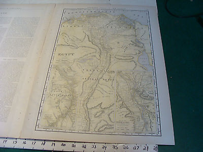 Vintage Original 1898 Rand McNally Map: EGYPT plus info, 15 x 21""