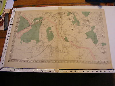 Bacon's ENGLAND late 1800's map: sheet 4 SURRE, Wimbledon Common, Tooting Common