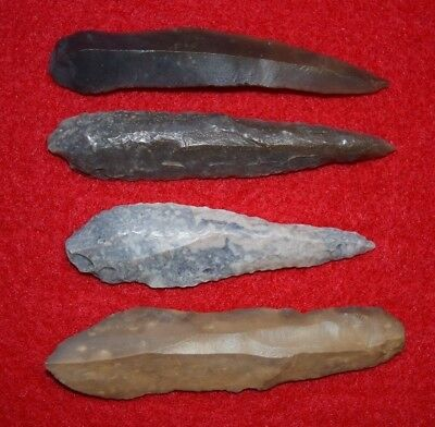 4 uni-facial Mesolithic blades/tools, Sahara desert found, long and nice!
