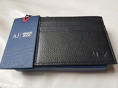 **ARMANI JEANS AJ Mens Black Leather Card Holder New Boxed Genuine**