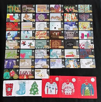 STARBUCKS Limited Edition CHRISTMAS 2016 total of 53 GIFT CARD SET US Seller