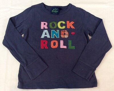 VGUC Rare MINI BODEN ROCK AND ROLL Appliqué Shirt T Tee Girls Size 3-4 Y 3T-4T
