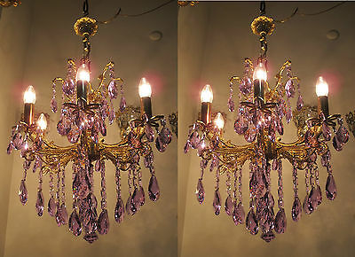 Pair Of Vnt French 6 arms Falcon Decorated Swarovski Crystal Chandelier 1960s RR