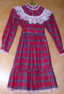 VTG Dress BRYAN Red Plaid COSTUME Lace VICTORIAN School USA S 8 Girls COLONIAL