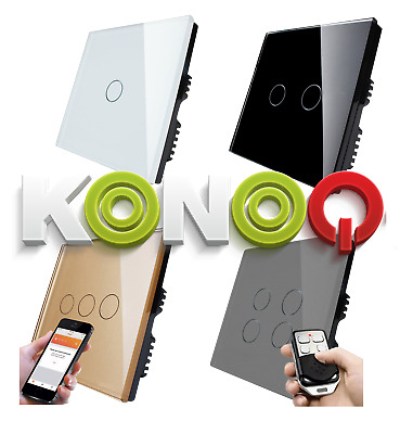 KONOQ+ Luxury Glass Panel Touch LED Light Smart Switch:ON/OFF,Dimmer,Remote,WIFI