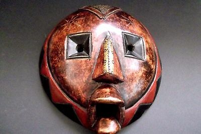 Antique Genuine Wooden Hand Carved African Mask With Copper