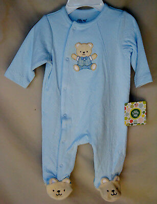 LITTLE ME 100% COTTON Light Blue BABY BEAR Footie NWT